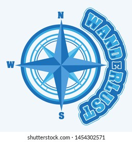Compass rose with the word wanderlust