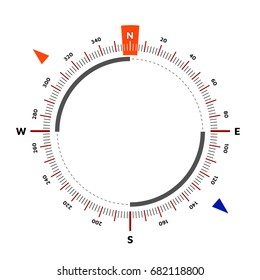 Compass. Scale is 360 degrees. North designation. Vector illustration. White background. Editable Eps10.