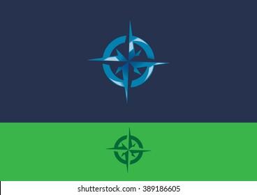 Compass sea navigate travel flat logo vector