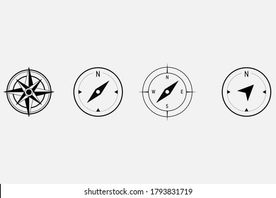 Compass set. Simple illustration of black and white compasses on a white background.