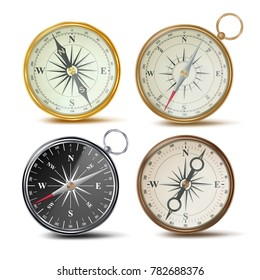 Compass Set Vector. Different Colored Compasses. Navigation Realistic Object Sign. Retro Style. Wind Rose. Isolated On White Illustration
