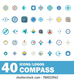 Compass set vector logotype icons illustration modern design for business