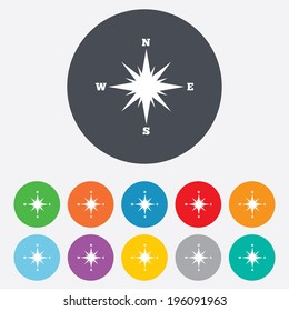 Compass sign icon. Windrose navigation symbol. Round colourful 11 buttons. Vector
