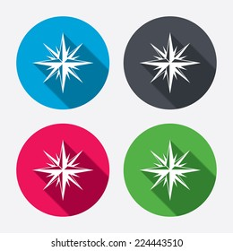 Compass sign icon. Windrose navigation symbol. Circle buttons with long shadow. 4 icons set. Vector