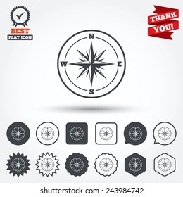 Compass sign icon. Windrose navigation symbol. Circle, star, speech bubble and square buttons. Award medal with check mark. Thank you. Vector