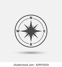 Compass sign icon. Windrose navigation symbol. Flat windrose compass web icon on white background. Vector