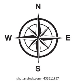 Compass silhouette in black. This image is a vector illustration.