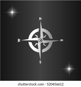 Compass. Silver flat vector icon on black background with star
