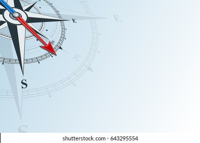 Compass southeast. Compass with wind rose on a blue background, the arrow points to the southeast. Horizontal illustartion. Travel concept.