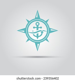 Anchor logo images stock photos vectors shutterstock compass star within which the anchor under a wave vector isolated logo thecheapjerseys Images