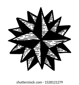 Compass symbol, hand drawn vintage illustration, isolated vector