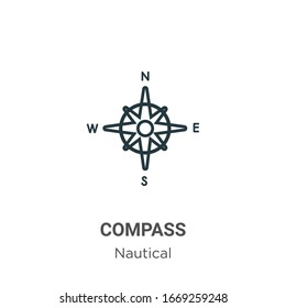 Compass symbol outline vector icon. Thin line black compass symbol icon, flat vector simple element illustration from editable nautical concept isolated stroke on white background
