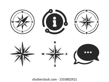 Compass symbols. Chat, info sign. Windrose navigation icons. Coordinate system sign. Classic style speech bubble icon. Vector
