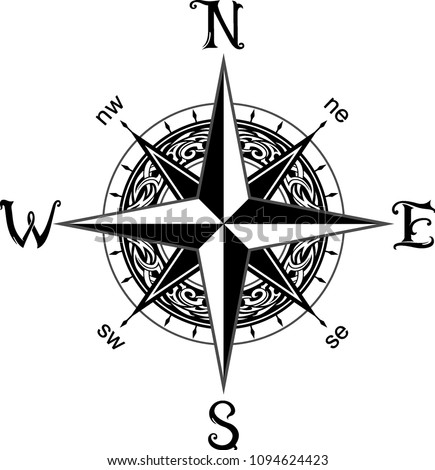 Compass Tattoo Design Stock Vector (Royalty Free) 1094624423 ...