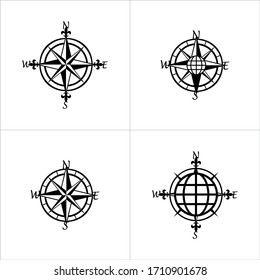 Compass vector or icon design, black backround. Compass Pattern. Different compass shapes.