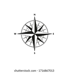 Compass vector icon on white background.