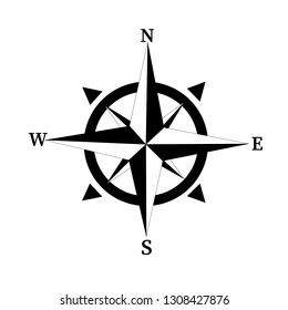 Compass vector illustration.Vector compass rose with North, South, East and West indicated. Compass icon.