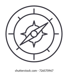 compass vector line icon, sign, illustration on background, editable strokes