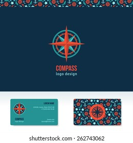 Compass vector logo design template. Travel agency abstract idea or icon. Business card with marine symbols pattern.