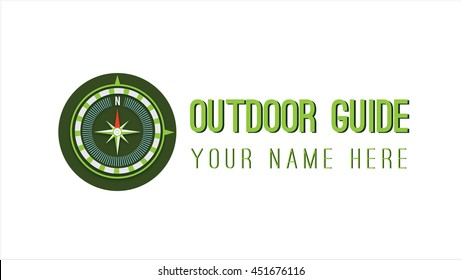 Compass vector logo template. Outdoor guide brand identity.