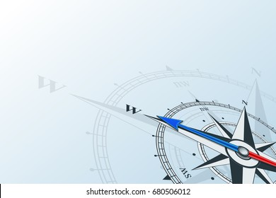 Compass west. Compass with wind rose, the arrow points to the west. Compass on a blue background. Compass illustrations can be used as background. Flat background with copy space place. Travel concept