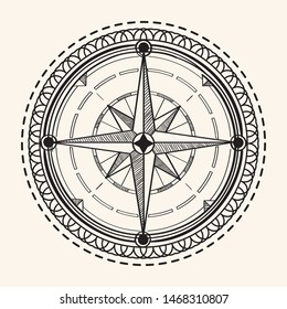 Compass wind rose decorative vintage emblem