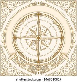 Compass wind rose decorative vintage emblem