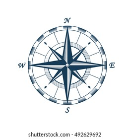Compass wind rose design element. Isolated vector illustration on white background.