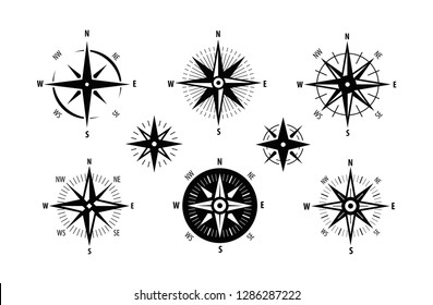 Compass, wind rose icon set. Marine navigation symbol. Vector illustration