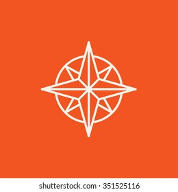 Compass wind rose line icon for web, mobile and infographics. Vector white icon isolated on red background.