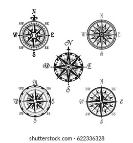 Compass or Wind Rose marine navigation icons. Vector symbols of nautical retro navigator compass with winds names of East, West, North and South arrows for ship travel design