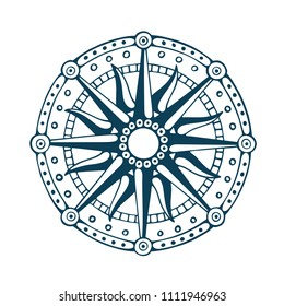 Compass. Wind rose. Old vintage compass rose symbol. Retro compass hand drawn vector illustration. Nautical wind rose sketch.