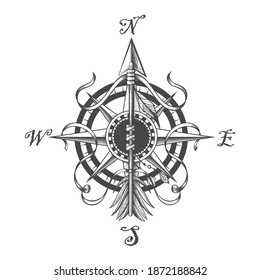Compass wind Rose and Pointing Indian arrow vintageTattoo. Vector illustration