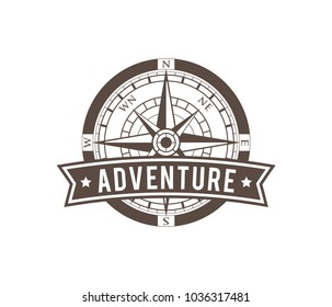 compass wind rose travel adventure direction navigation vector logo design template