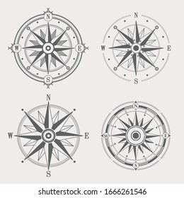 Compass wind rose vector design elements. Vintage navigator icon set