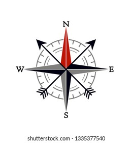 Compass wind rose in vintage style. flat icon. vector illustration isolated on white background