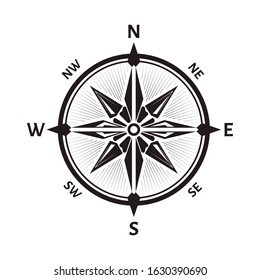 Compass wind rose, windrose icon. Navigational instrument showing direction with arrow on round face, eight principal winds, vintage device. Travel location and exploration. Vector illustration.