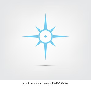 Compass, windrose icon button for websites (UI) or applications (app) for smartphones or tablets. Sail, sailing, marine, nautic, nautical, marine Clean and modern style design