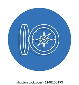 Compasses badge icon. Element of education for mobile concept and web apps icon. Thin line icon with shadow in badge for website design and development, app development on white background