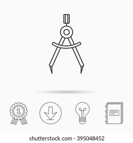 Compasses icon. Measurement dividers sign. Download arrow, lamp, learn book and award medal icons.