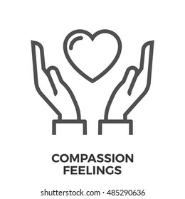 Compassion Feelings Thin Line Vector Icon Isolated on the White Background.