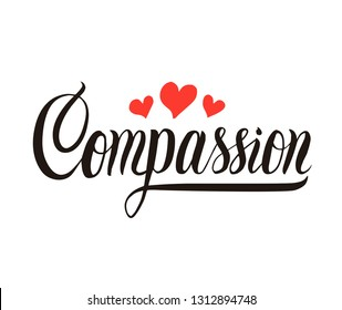 Compassion handwritten lettering with red hearts