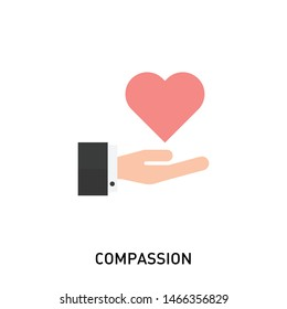 Compassion Icon. Vector icon of a hand holding a heart. Flat design of the hand and heart stock illustration.