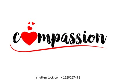 compassion word text with red love heart suitable for logo or typography design