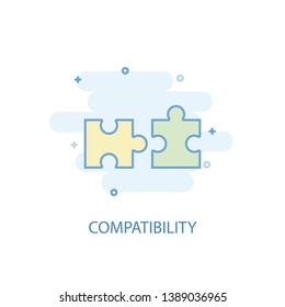 compatibility line concept. Simple line icon, colored illustration. compatibility symbol flat design. Can be used for UI/UX
