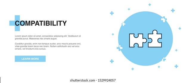 compatibility line icon. Simple icon, banner outline template concept. compatibility line icon. Simple line illustration