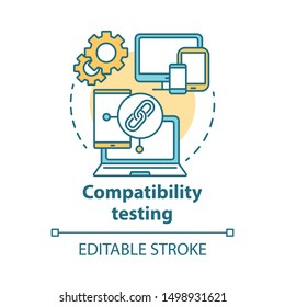 Compatibility testing concept icon. Non-functional examination. Checking software on different devices idea thin line illustration. Vector isolated outline drawing. Editable stroke