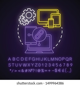 Compatibility testing neon light concept icon. Non-functional examination. Checking software on different devices idea. Glowing sign with alphabet, numbers and symbols. Vector isolated illustration