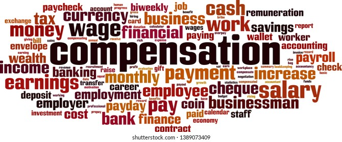 Compensation cloud concept. Collage made of words about compensation. Vector illustration