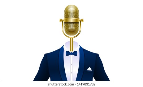 Compere, master of ceremonies, emcee. Realistic gold microphone in tuxedo, suit with bowtie isolated on white background. Vector Illustration